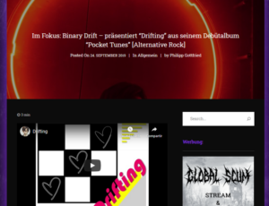 """Im Fokus: Binary Drift – präsentiert """"Drifting"""" aus seinem Debütalbum """"Pocket Tunes"""" [Alternative Rock]"""
